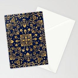Oriental Damask Ornament - Gold on dark blue #2 Stationery Cards