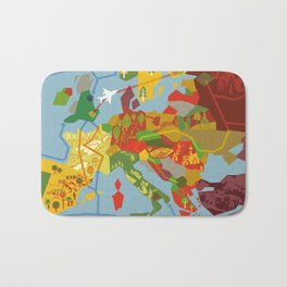 Abstract European Travel Map Bath Mat