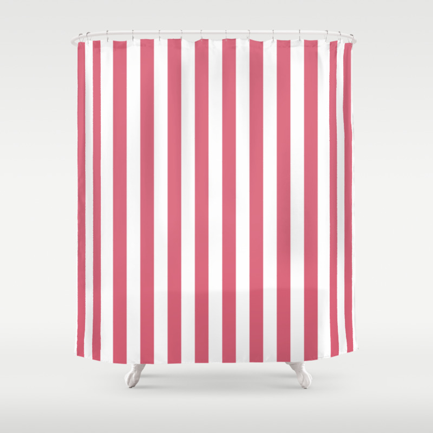 Large Nantucket Red And White Cabana Tent Stripes Shower Curtain