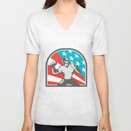 American Football Quarterback QB USA Flag Woodcut Unisex V-Neck