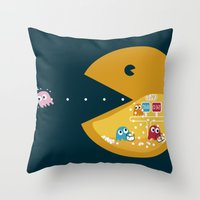 games Throw Pillows featuring Indoor Games by KingImagine