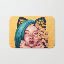 Puzzle Cat Girl Bath Mat
