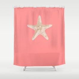 Beach Starfish on Coral background Shower Curtain