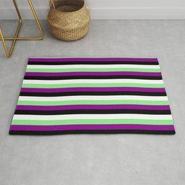 Light Green, Dark Magenta, Black & White Lined/Striped Pattern Rug