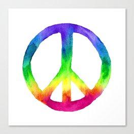 Rainbow Watercolor Peace Sign Canvas Print