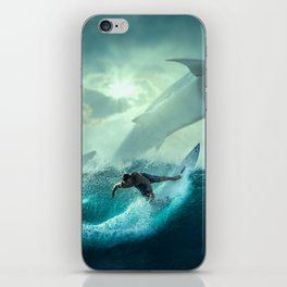 Surfing with sharks iPhone Skin