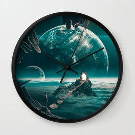 """Path to a portal,planets,cave """"edge of the world"""" Wall Clock"""