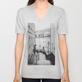 Streets Of Prague - Black and White Steps in the Old Town Unisex V-Neck