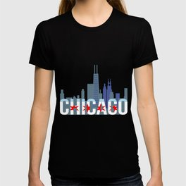 Chicago Windy City Skyline And Chicago Flag T-shirt