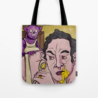 egg Tote Bags featuring Egg by Lee Grace Illustration