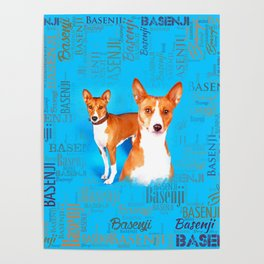 Basenji dogs  with Word cloud Pattern Poster