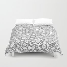 Field of daisies - gray Duvet Cover