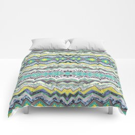 Teal Yellow White Midnight Aztec Comforters