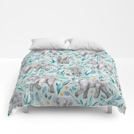 Baby Elephants and Egrets in Watercolor - egg shell blue Comforters