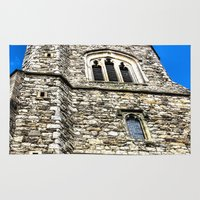 medieval Area & Throw Rugs featuring Medieval Church by David Pyatt