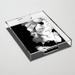 White Orchids Black Background Acrylic Tray