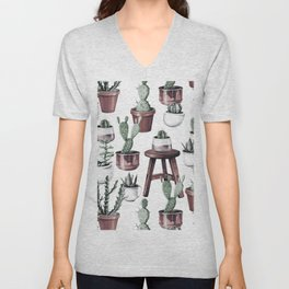 Happy Potted Cacti in Rose Gold Pots Unisex V-Neck