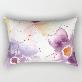Watercolor Flowers Painting Rectangular Pillow