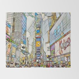 NYC Life in Times Square Throw Blanket