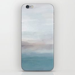 Light Gray, Mauve, Turquoise Aqua Blue Print Modern Wall Art, Abstract Painting iPhone Skin