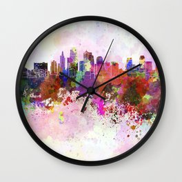 Kansas City skyline in watercolor background Wall Clock