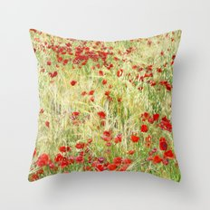 Windy poppies Throw Pillow