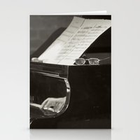 music notes Stationery Cards featuring Grand Piano and Music Notes by cinema4design