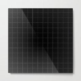 Grey on Black Chalky Grid Metal Print