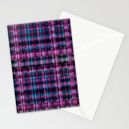 Electric Pink - Purple Plaid Stationery Cards