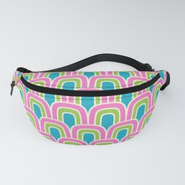 Rainbow Scallop Pattern Pink Chartreuse Turquoise Fanny Pack