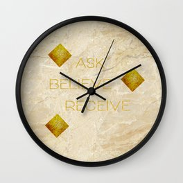 Ask believe receive beige tan marble and gold squares abstract typography design Wall Clock