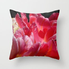 Pink Parrot Tulips close up VII Throw Pillow