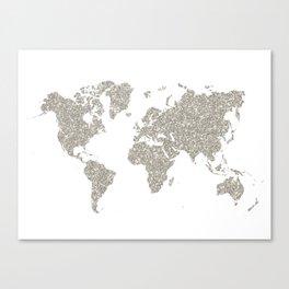 Silver sparkly glitter world map Canvas Print