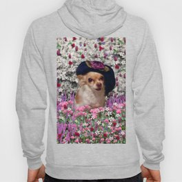 Chi Chi in Purple, Red, Pink, White Flowers, Chihuahua Puppy Dog Hoody