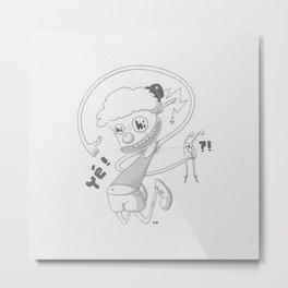 Clown And Rabbit Grey Metal Print