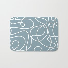 Doodle Line Art | White Lines on Dusty Blue Bath Mat