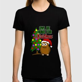 Owl Be Home For Christmas Funny Owl Santa Hat T-shirt