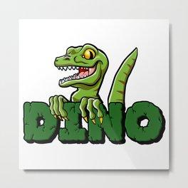 Cute dinosaur cartoon and lettering Metal Print