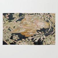 mucha Area & Throw Rugs featuring 1898 - 1900 Femme a Marguerite by Alphonse Mucha by BookCollecting101