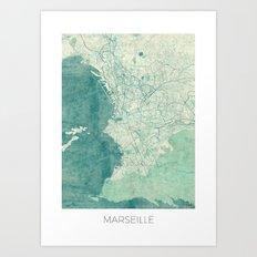 Marseille Map Blue Vintage Art Print