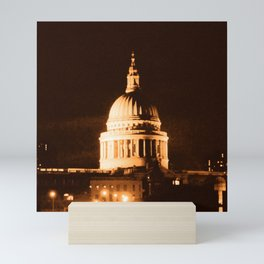 St Paul's Cathedral in Sepia & Dry Brush Effect Mini Art Print