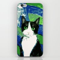 seahawks iPhone & iPod Skins featuring 12th Cat with Stars and Stripes by Kazumi