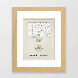 Rome - Vintage Map and Location Framed Art Print