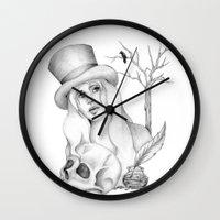 edgar allan poe Wall Clocks featuring Mrs. Edgar Allan Poe by Rene Robinson