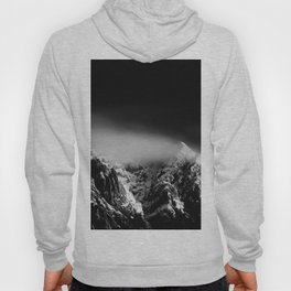 Black and white long exposure of clouds above mountain Hoody