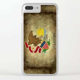 Illinois State flag, vintage on parchment paper Clear iPhone Case