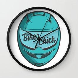 Biker Chick - Teal Wall Clock