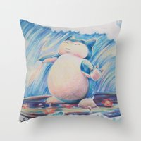 snorlax Throw Pillows featuring Snorlax Used Surf by LaurelAnneEquineArt