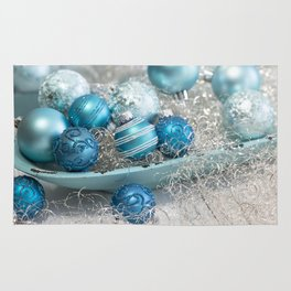 Blue  turquoise christmas baubles and bowl Rug