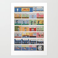 peanuts Art Prints featuring Jaws/Peanuts by Charles Forsman